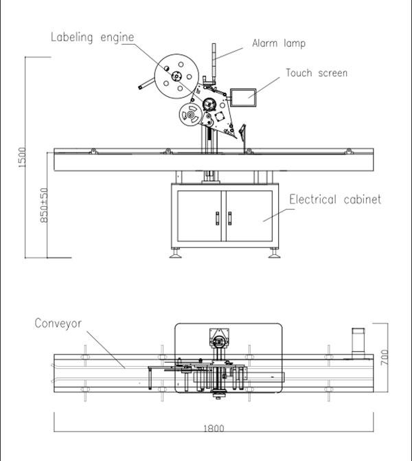 Automatický samolepicí etiketovací stroj s plochým horním okrajem